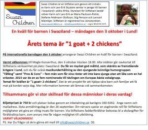 En kväll för barnen i Swaziland den 3 oktober